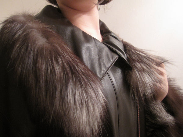 Nappa Leather Coat with fur trim collar and sleeves