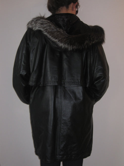 Nappa Leather Parka with Fur Collar