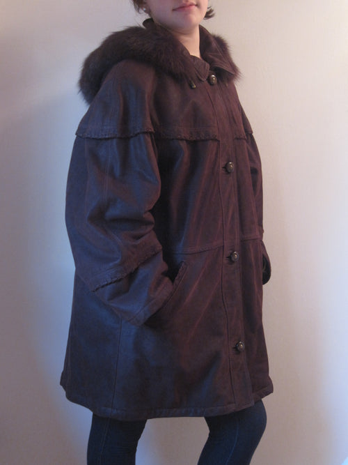 Grained Calf Coat with Fur Trim Hood