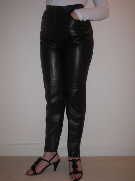 Nappa Leather Slim Leg Trousers