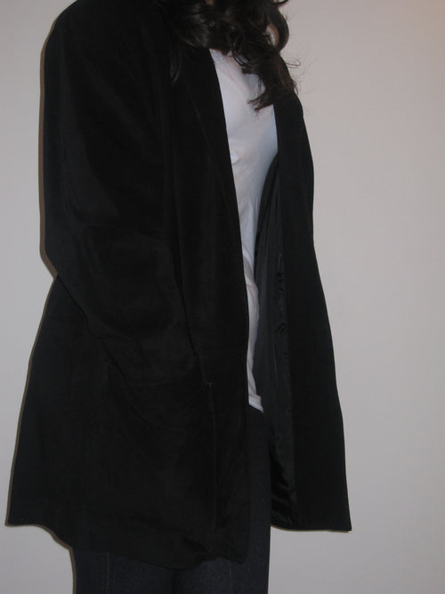 Silky Pigskin Jacket With Turn Back Sleeves