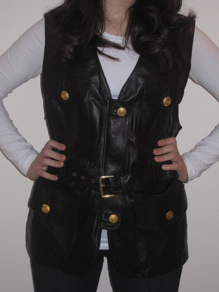 Ultra Soft Nappa Leather Belted Waistcoat