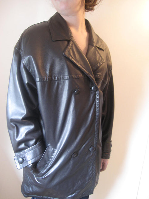 Long Smooth Nappa Leather Jacket.