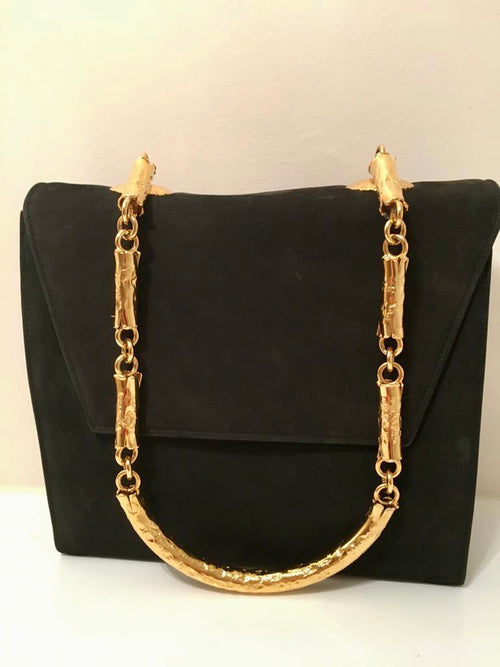 Suede Shoulder Bag with Gold Chain