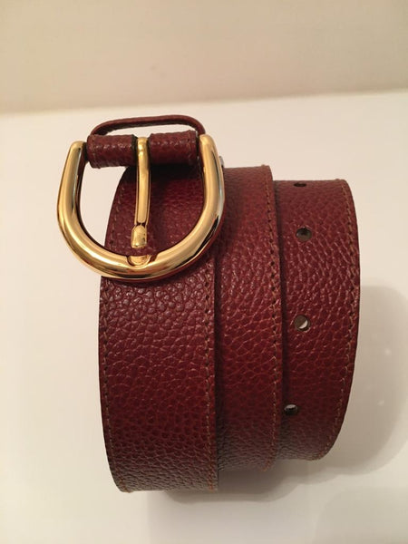 Gold Horseshoe Buckle hand hammered leather belt