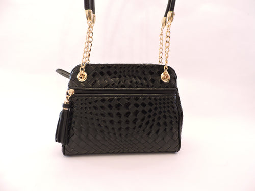 Nappa and Patent Woven Shoulder Bag