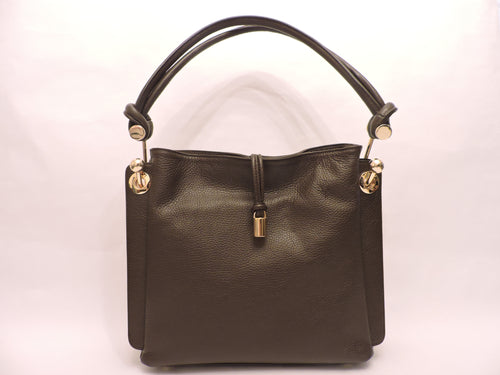 Grained Deerskin Leather Shoulder Bag