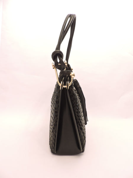 Double Handle Nappa and Vernice Woven Shoulder Bag