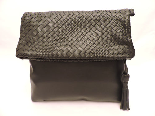 Sleek Nappa Leather Foldover Bag