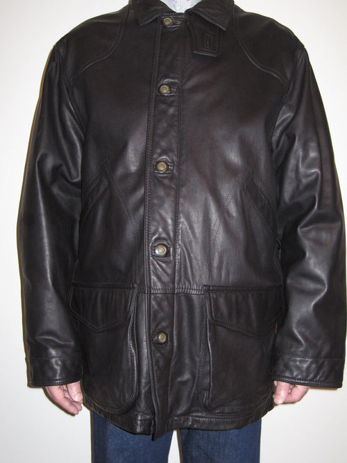 Nappa Leather Single Breast Coat
