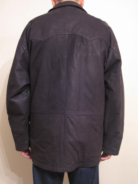 Grained Leather Single Breasted 3/4 Coat