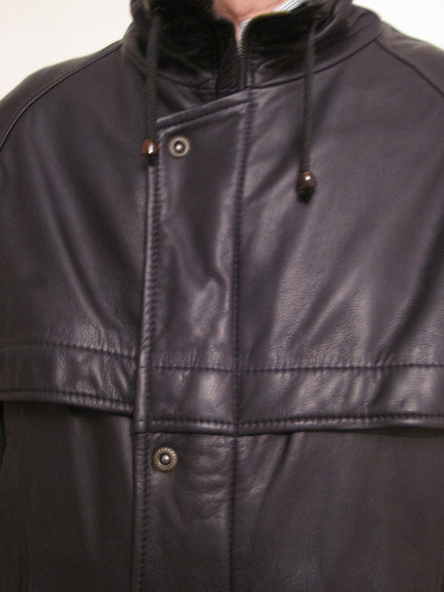 Luxury Nappa Leather Single Breast Coat