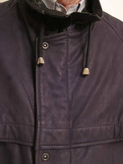 Stamped Calf Leather Zip Up Coat