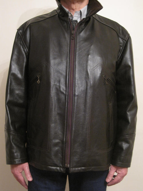 Calf Leather Zip Up Jacket