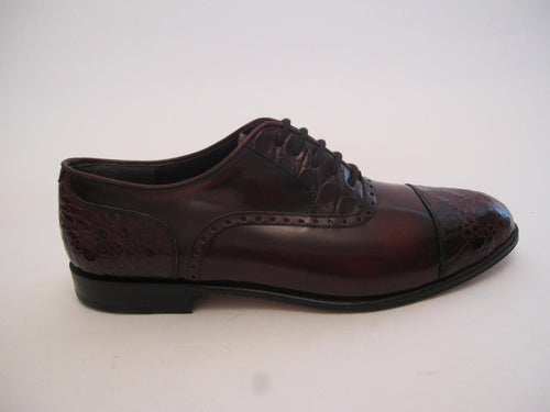 Highly Polished Calf Leather With Crocodile Toe Cap And Trim