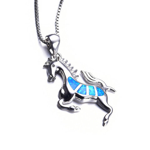 Blue Opal Horse Necklace