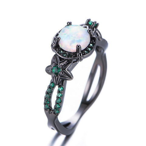 Green Mix Opal Gemstone Ring