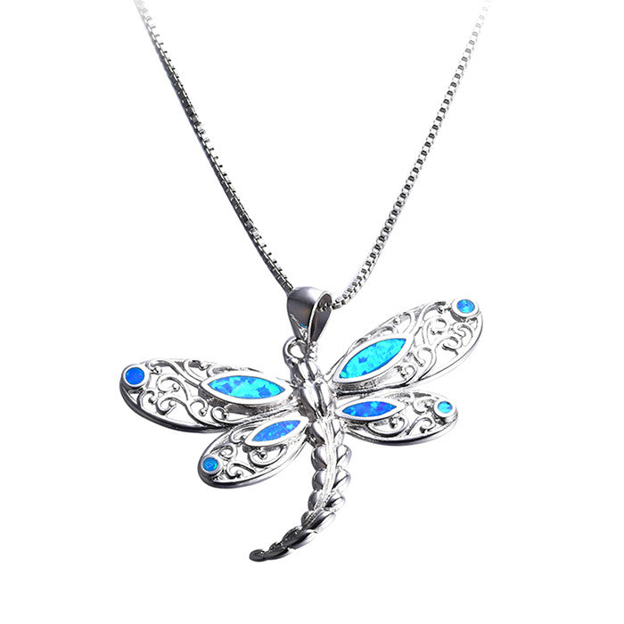 Opal Dragonfly Necklace