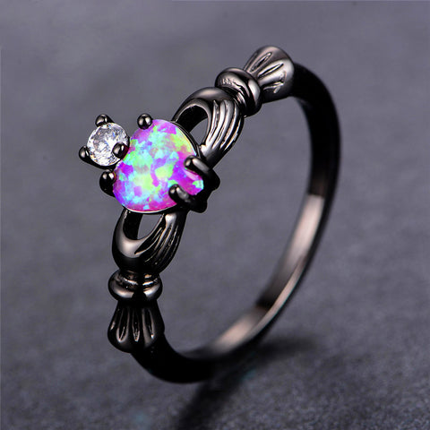 Pink Opal Heart Crown Ring