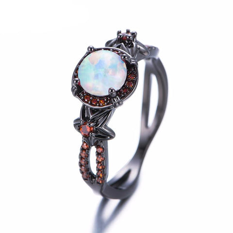 Red Fire Opal Gemstone Ring