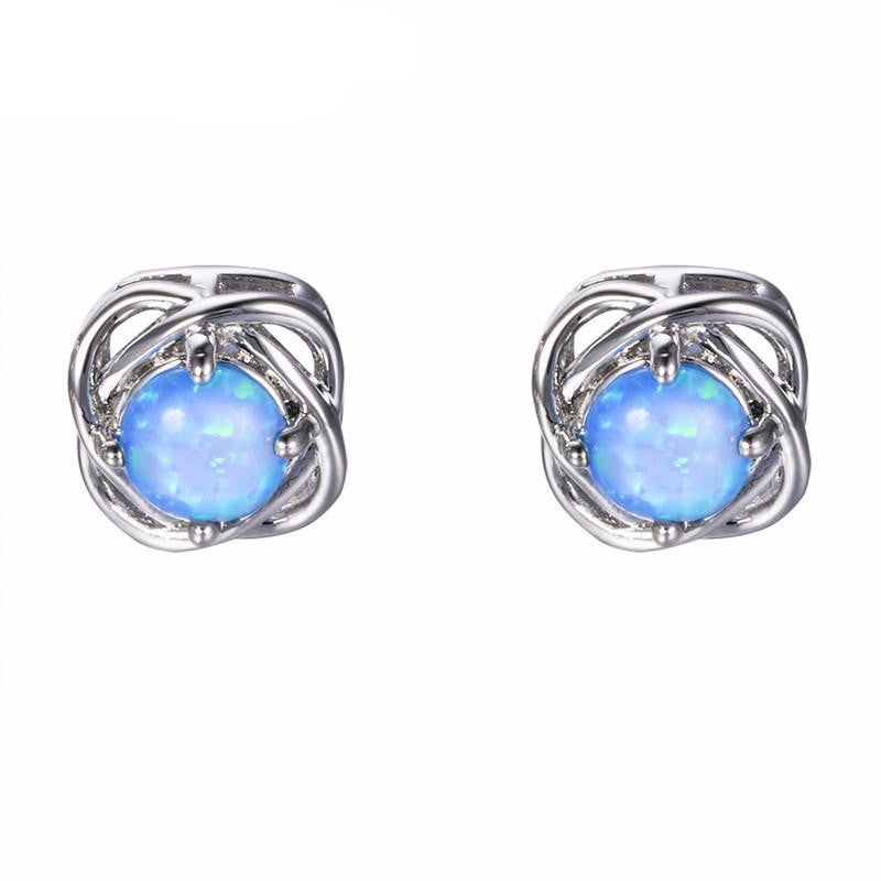 double sterling junxin item blue filled female jewelry earring silver fire oval green stud opal white