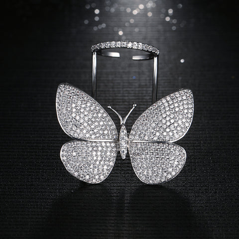 Sparkling Butterfly Statement Ring