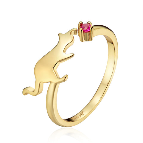 Playful Kitten Open Ring