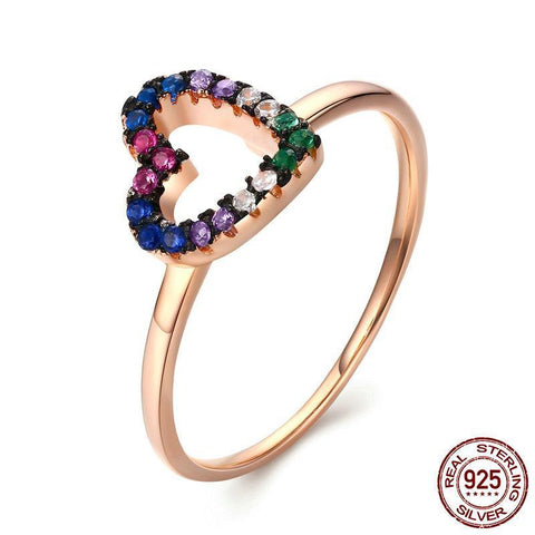 Sterling Silver Multicolor Heart Ring