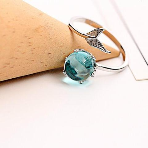 Blue Crystal Mermaid Open Ring