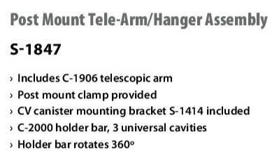 Post Mount Tele-Arm / Hanger Assembly S-1847