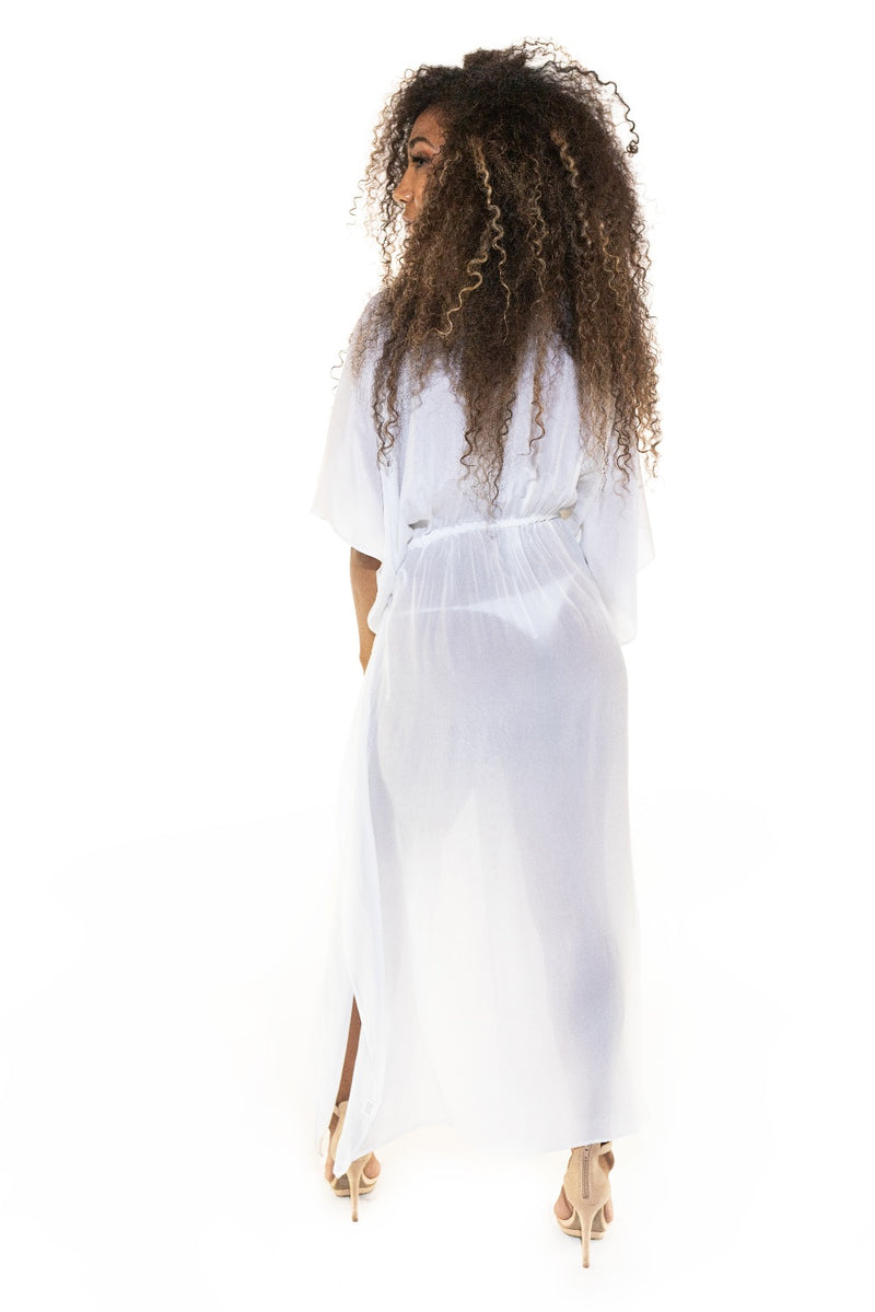 Moroccan Long Kaftan Robe - White