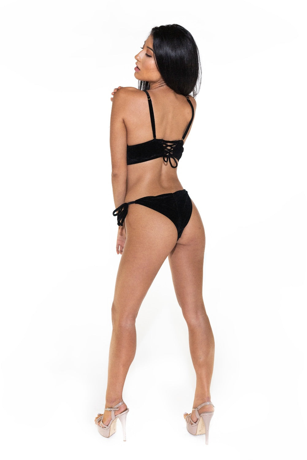 Monte Carlo Velvet Scrunch Tie Side Bikini Set