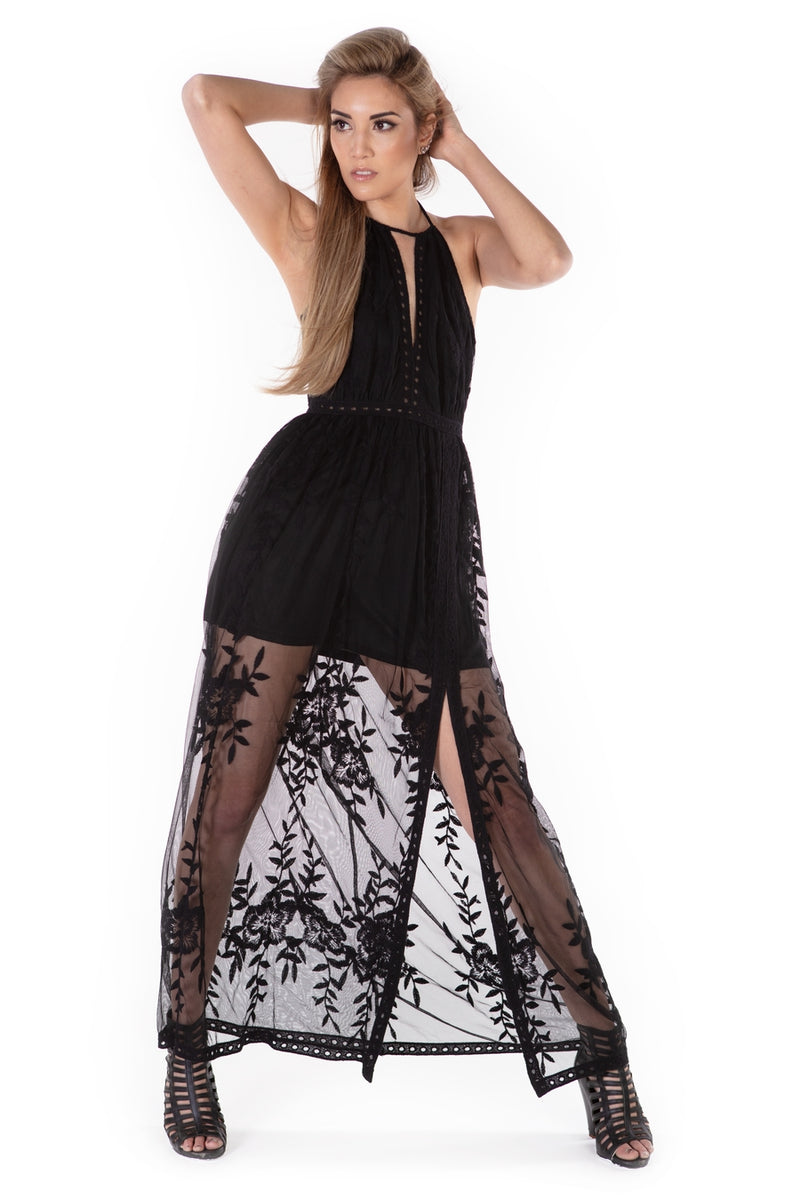 Serenity Long Lace Skirt Dress - Black