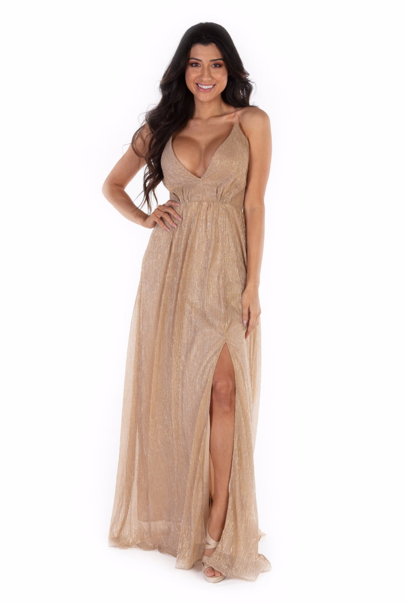 Golden Goddess Halter Dress
