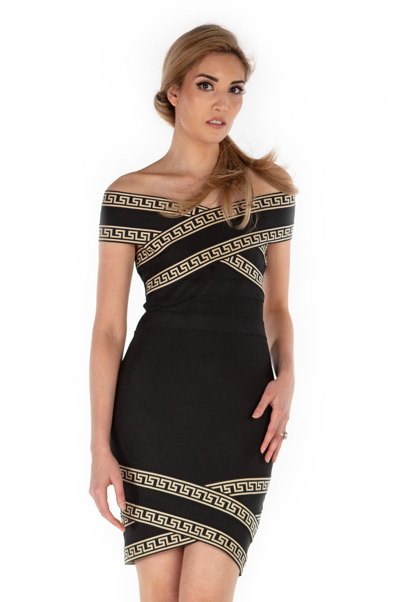 Greek Goddess Off The Shoulder Bandage Dress