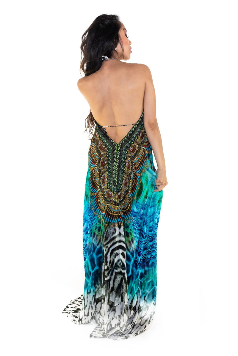 Tropicale High Low Halter Dress