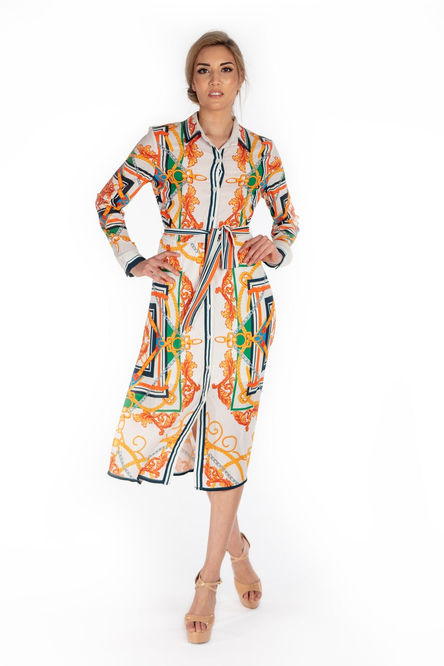Normandi Button Up Shirt Dress