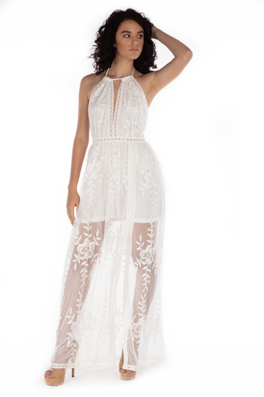 Serenity Long Lace Skirt Dress - White