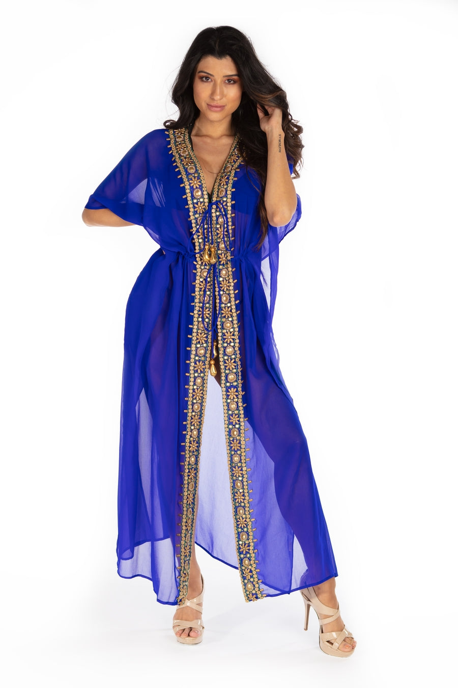 Santorini Long Kaftan Robe With Embellishments
