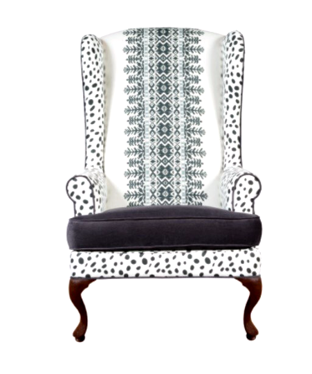 black and white tribal upholstered custom chair
