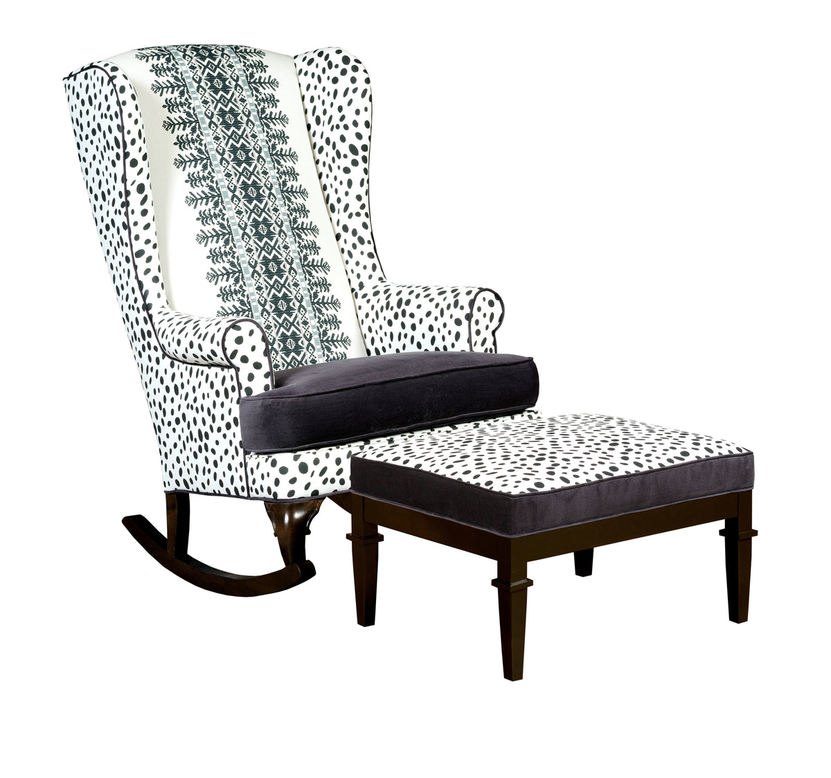 Bohemian Rocking Chair And Ottoman Combo Embroidered Spot Print Traditional  Nursery Decor