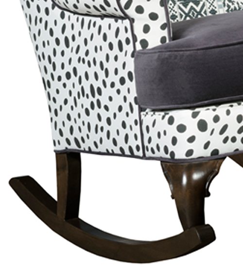 bohemian chair detail of rocking chair dalmation print