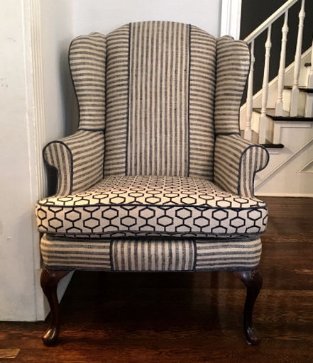 custom upholstery geometric navy and linen chair