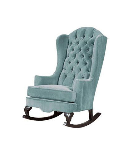 aqua powder blue velvet tufted traditional wingback rocking chair