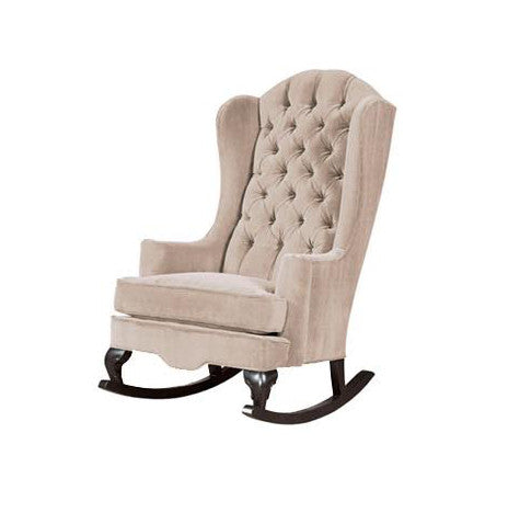 bone off-white traditional tufted rocking chair wingback chair