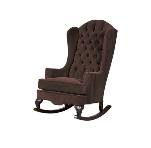 chocolate brown modern tufted wingback rocking chair nursery decor