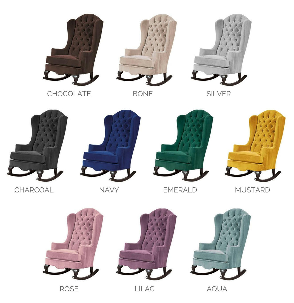 velvet rocking chairs for nursery or living room wingback style chair