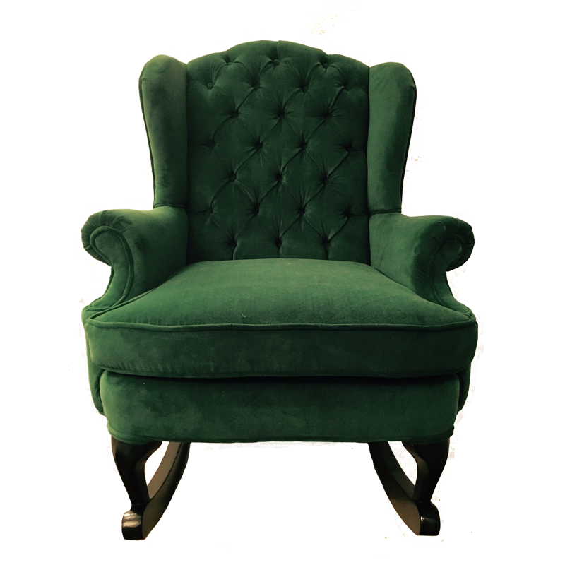 Fitzgerald green velvet wingback rocking chair traditional modern design