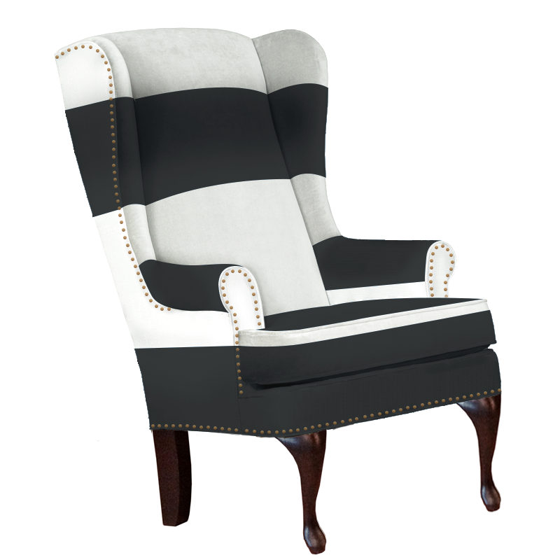 ... Traditional And Modern Black And White Striped Wingback Chair With  Nailheads ...