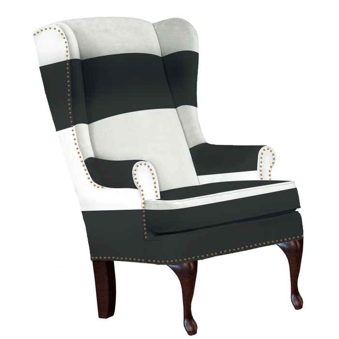 traditional and modern black and white striped wingback chair with nailheads